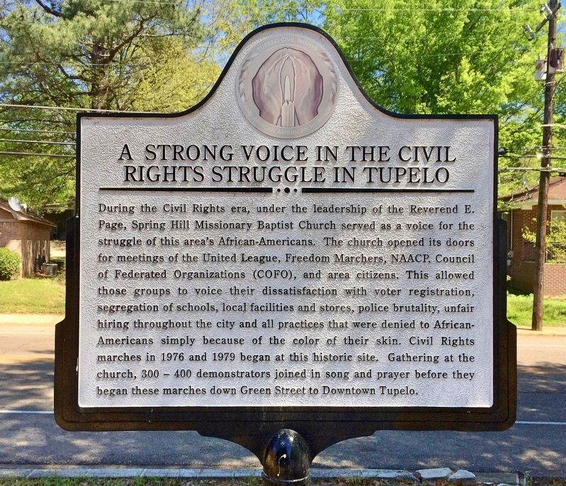 A Strong Voice in the Civil Rights Struggle in Tupelo Marker image. Click for full size.