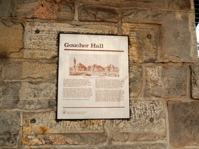 Goucher Hall Marker image. Click for full size.
