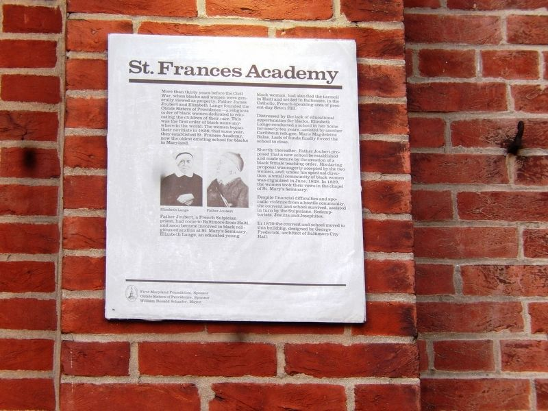 St. Frances Academy Marker image. Click for full size.