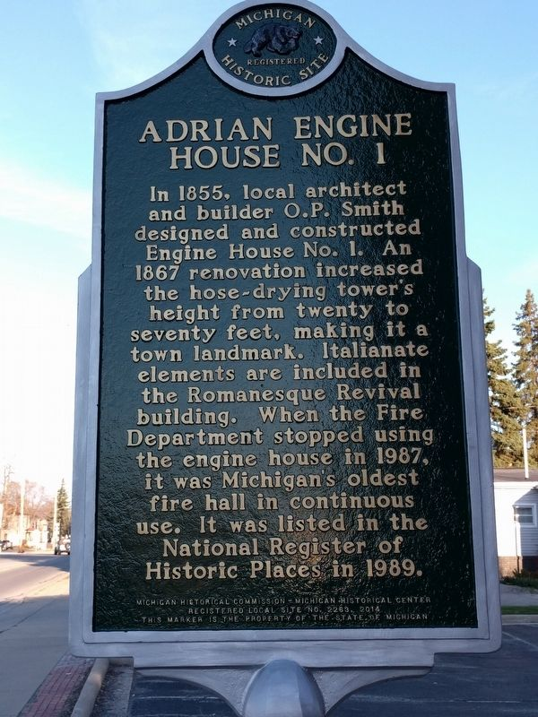 Adrian Fire Department / Adrian Engine House No. 1 Marker image. Click for full size.