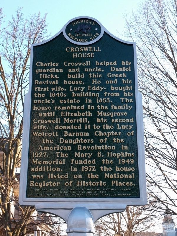 Governor Charles M. Croswell / Croswell House Marker image. Click for full size.