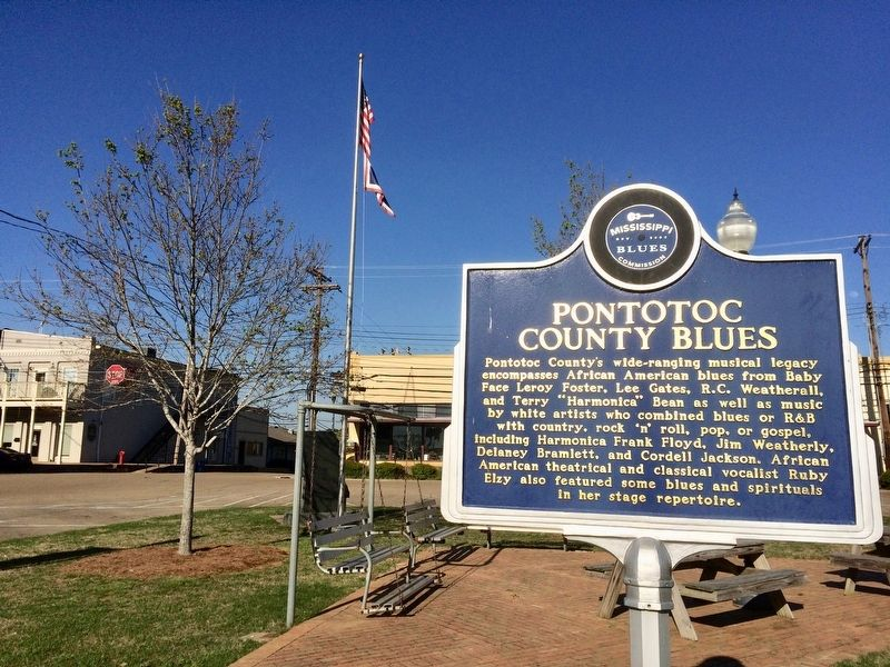 Pontotoc County Blues Marker in town square. image. Click for full size.