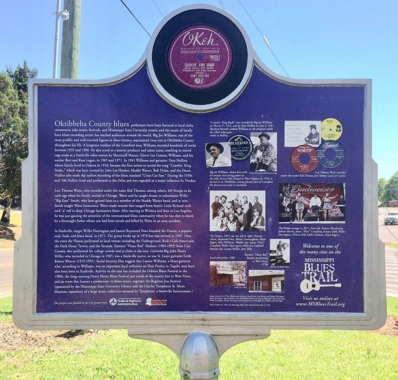 Oktibbeha County Blues Marker (Rear) image. Click for full size.