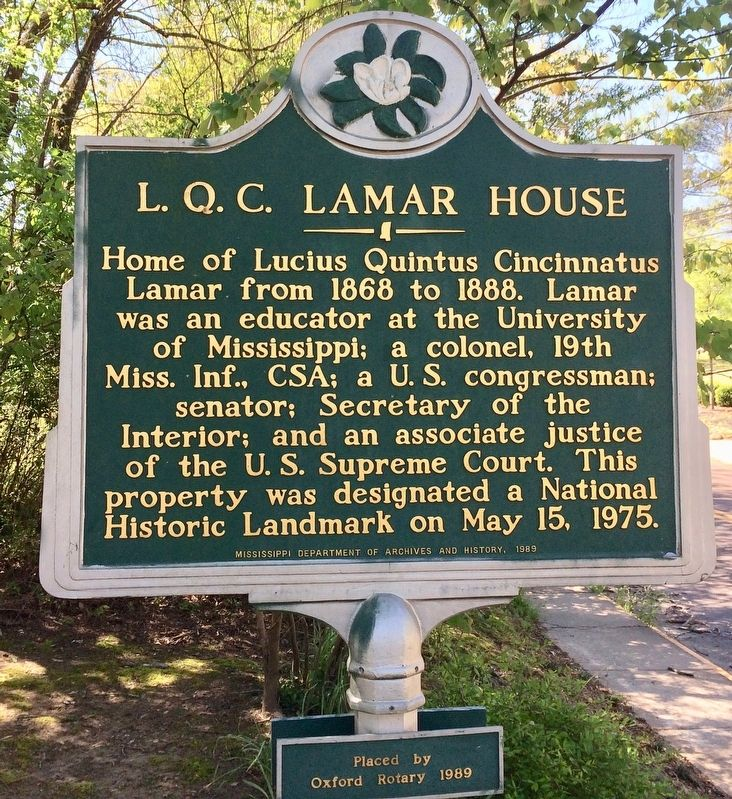 L. Q. C. Lamar House Marker image. Click for full size.