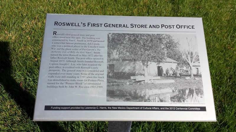 Roswell's First General Store and Post Office Marker image. Click for full size.