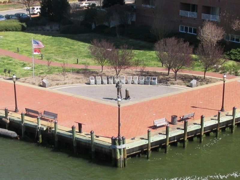 The Lone Sailor and Adjacent Markers from the deck of the Battleship USS Wisconsin image. Click for full size.