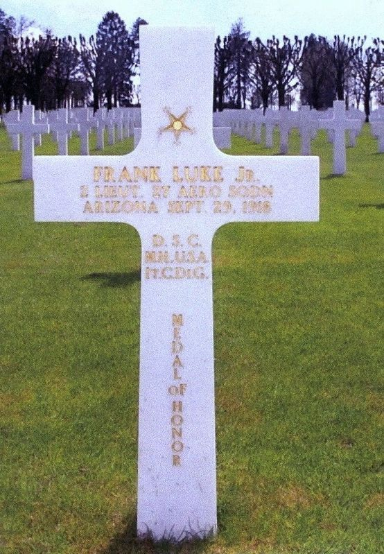 Lt. Frank Luke, Jr. Grave Marker image. Click for full size.