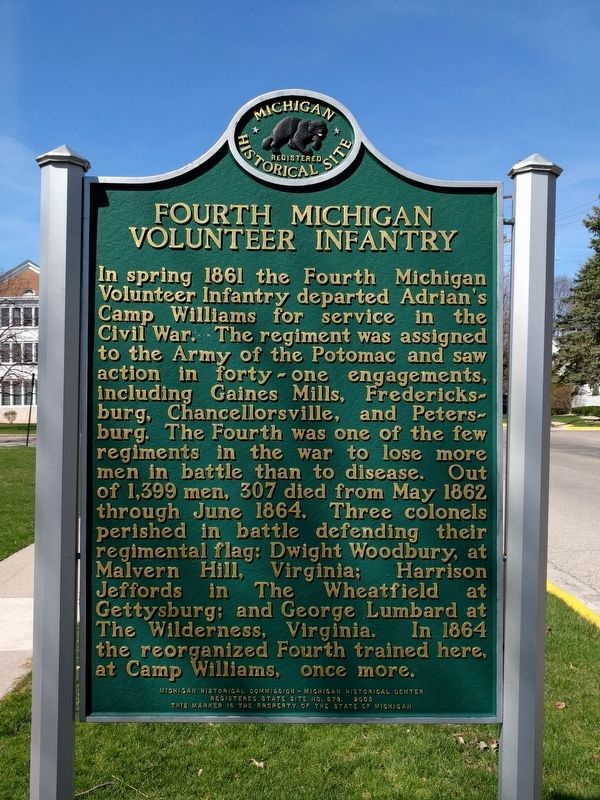 Camp Williams / Fourth Michigan Volunteer Infantry Marker image. Click for full size.