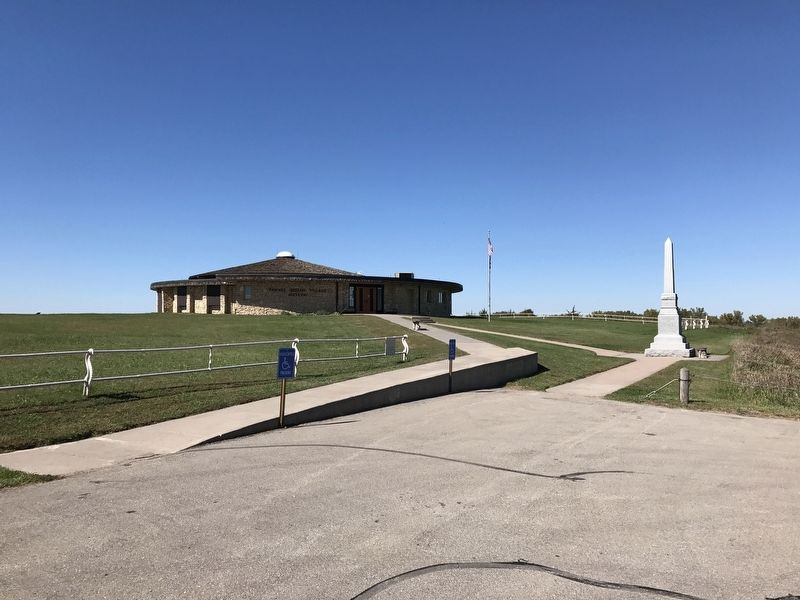Marker placement outside the Pawnee Indian Museum image. Click for full size.