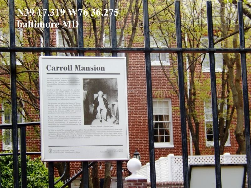 Cistern Marker-Carroll Mansion Marker image. Click for full size.
