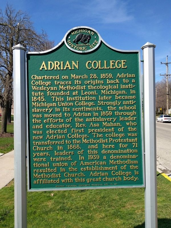 Adrian College Marker image. Click for full size.