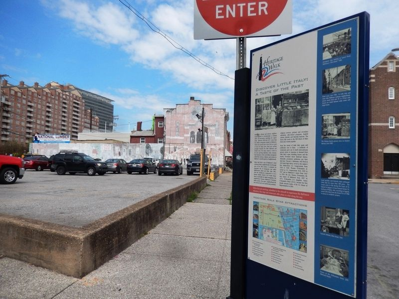 Discover Little Italy: A Taste of the Past Marker-with background image. Click for full size.