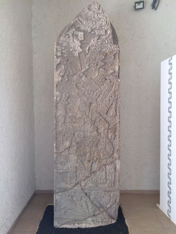 Stela 2 from the Stelae Building, now at the small museum at Uxmal. image. Click for full size.