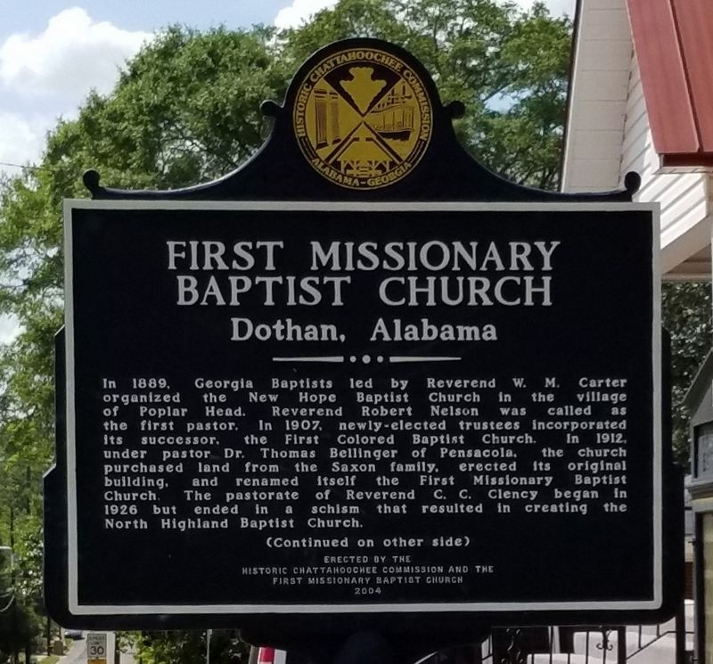 First Missionary Baptist Church Marker, front image. Click for full size.