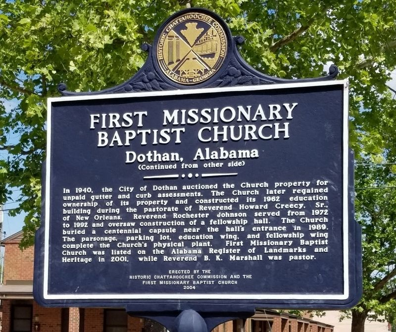 First Missionary Baptist Church Marker, reverse image. Click for full size.
