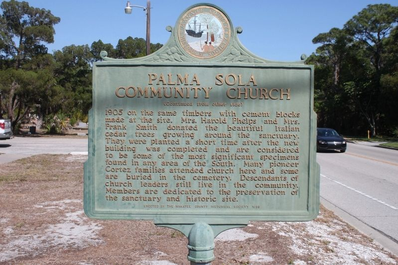 Palma Sola Community Church Marker-Side 2 image. Click for full size.