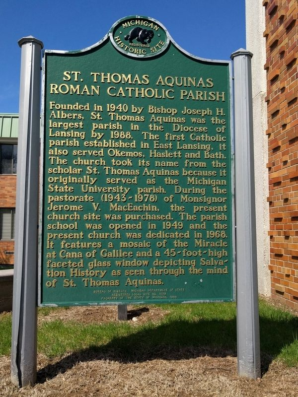 Monsignor Jerome V. MacEachin / St. Thomas Aquinas Roman Catholic Parish Marker image. Click for full size.