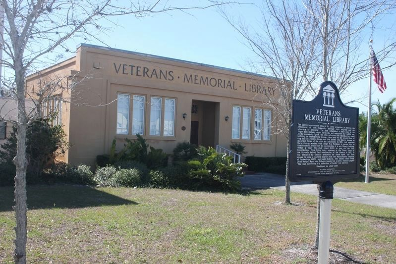 Veterans Memorial Library Marker and library image. Click for full size.