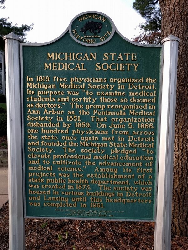 Michigan State Medical Society / Michigan State Medical Society Headquarters Marker image. Click for full size.