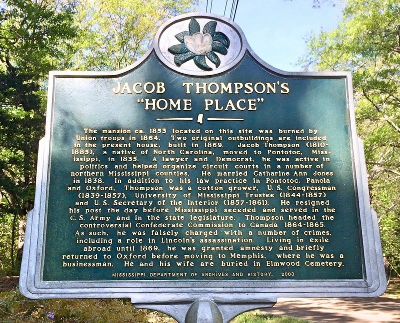 "Jacob Thompson's ""Home Place"" Marker image. Click for full size."