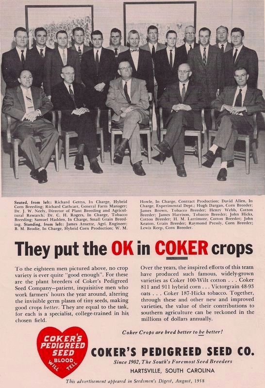 Coker's Pedigreed Seed Company /Coker Experimental Farms Marker image. Click for full size.