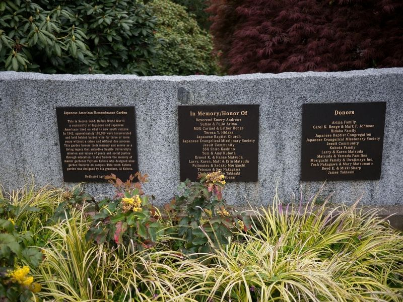 Japanese American Remembrance Garden Marker image. Click for full size.