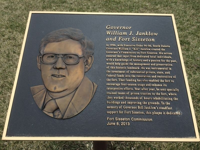 Governor William J. Janklow and Fort Sisseton Marker image. Click for full size.