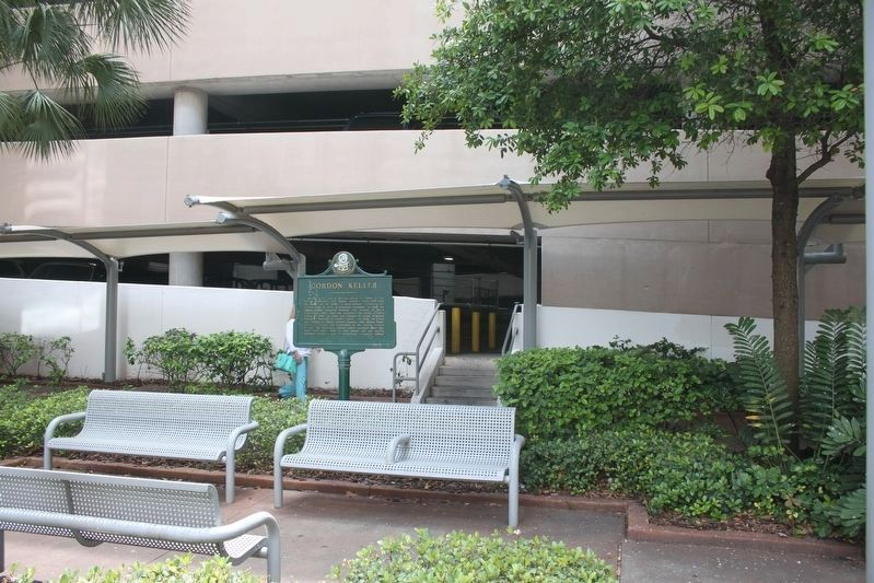 Gordon Keller Marker with parking garage in background. image. Click for full size.