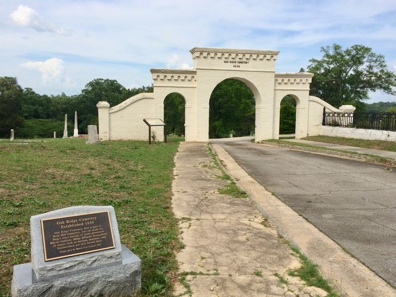 Oak Ridge Cemetery Marker can be seen in background next to Oak Ridge entrance gate. image. Click for full size.