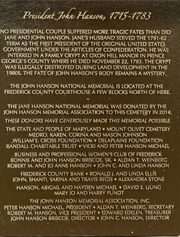 Jane Hanson National Memorial Marker image. Click for full size.