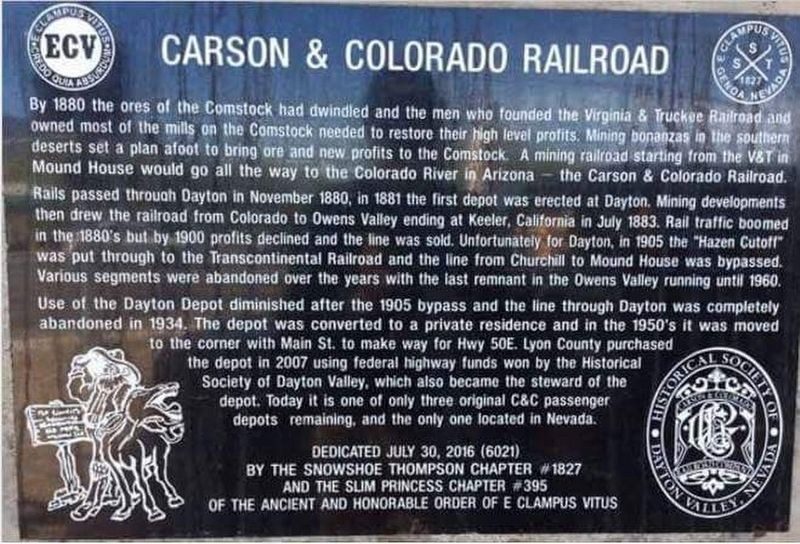 Carson & Colorado Railroad Marker image. Click for full size.