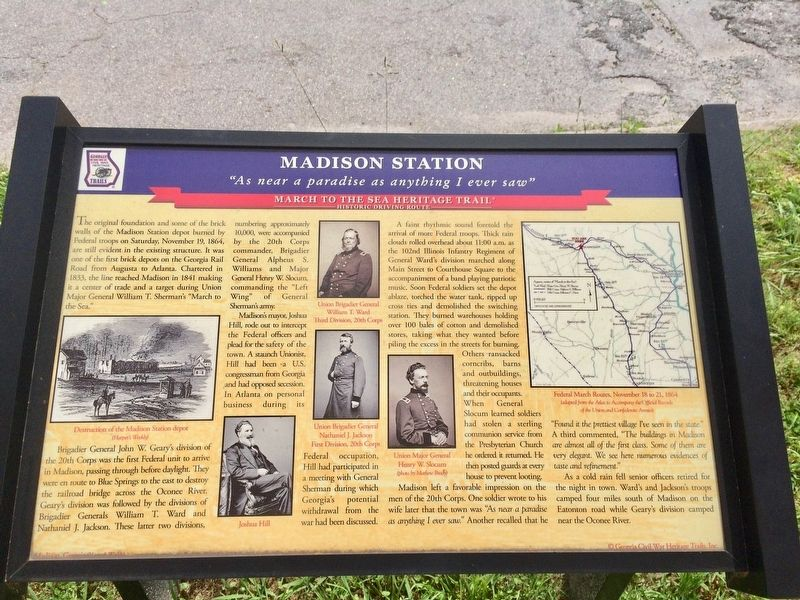 Another nearby marker about the Madison Station in the Civil War. image. Click for full size.