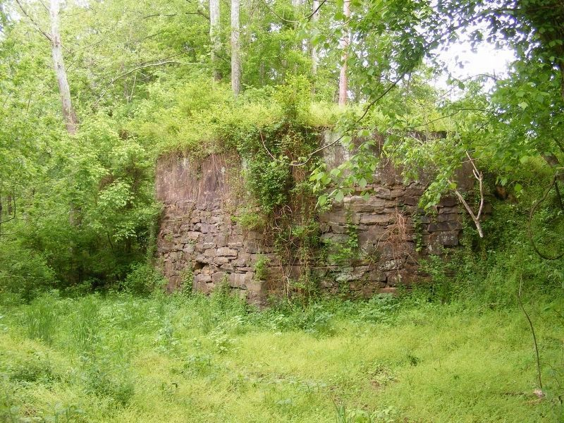 Old Germanna Bridge stone abuttment on the Orange County side of the river. image. Click for full size.