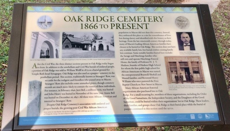 Oak Ridge Cemetery Marker image. Click for full size.