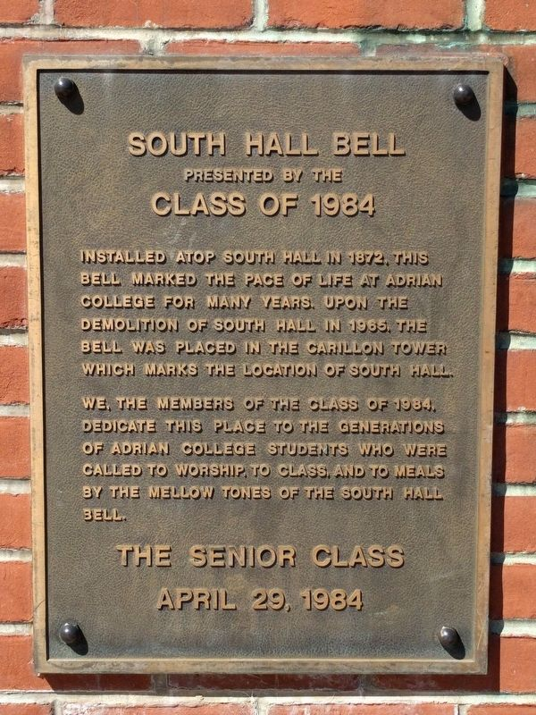 South Hall Bell Marker image. Click for full size.