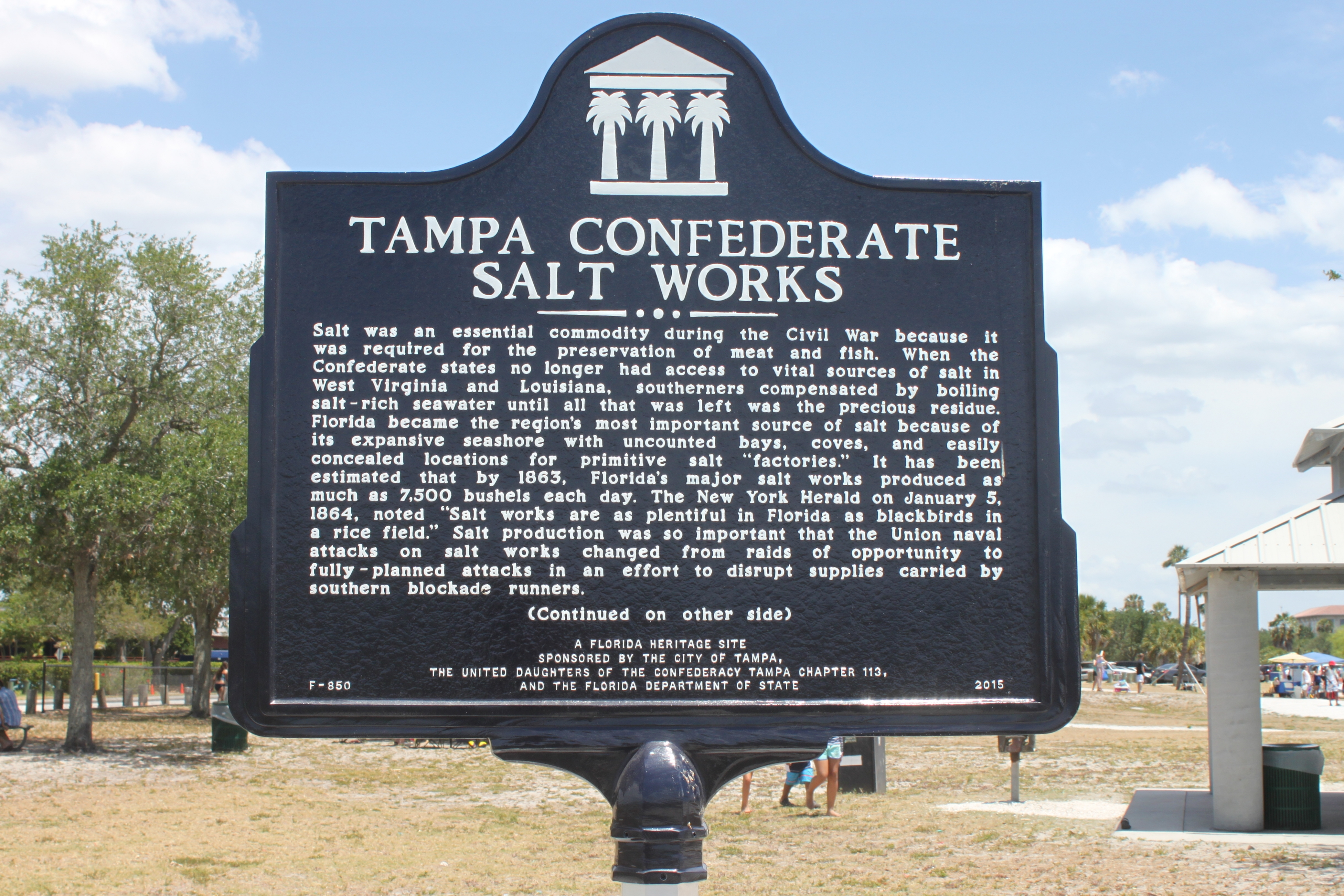 Tampa Confederate Salt Works Marker Side 1