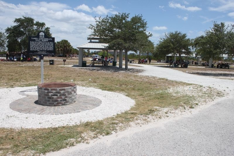 Tampa Confederate Salt Works Marker looking east from beach. image. Click for full size.