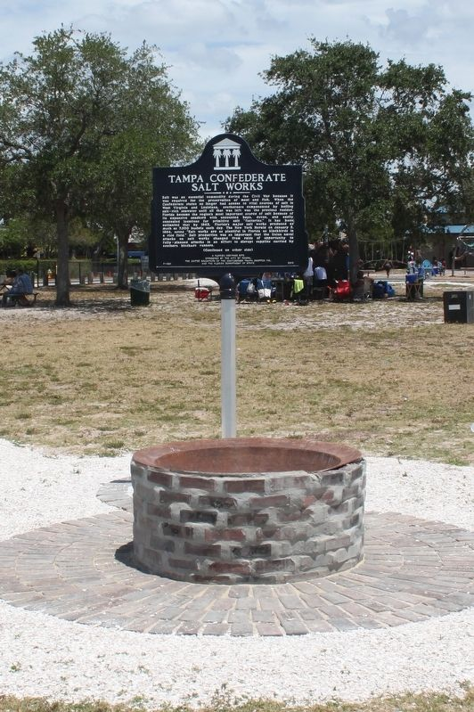 Tampa Confederate Salt Works Marker and boiler. image. Click for full size.