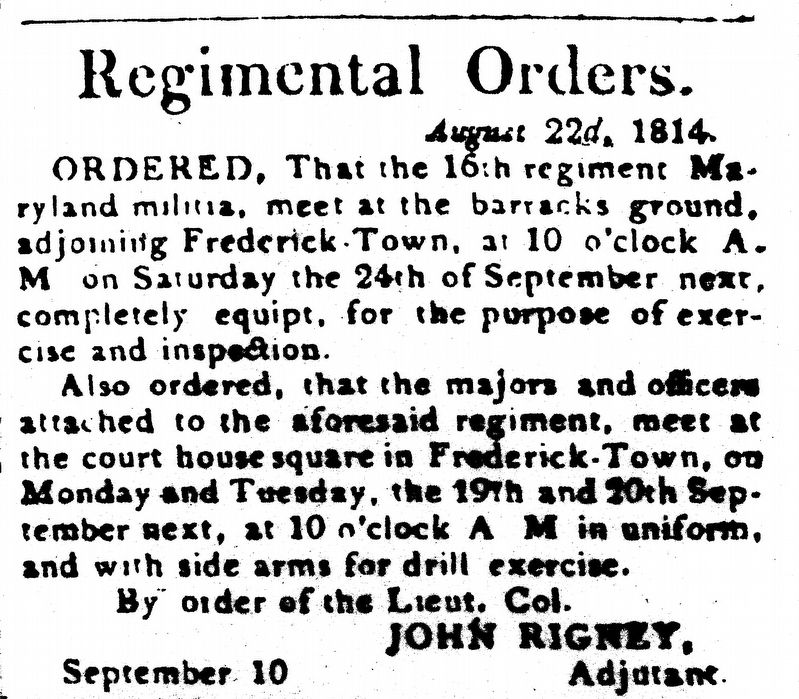Regimental Orders image. Click for full size.
