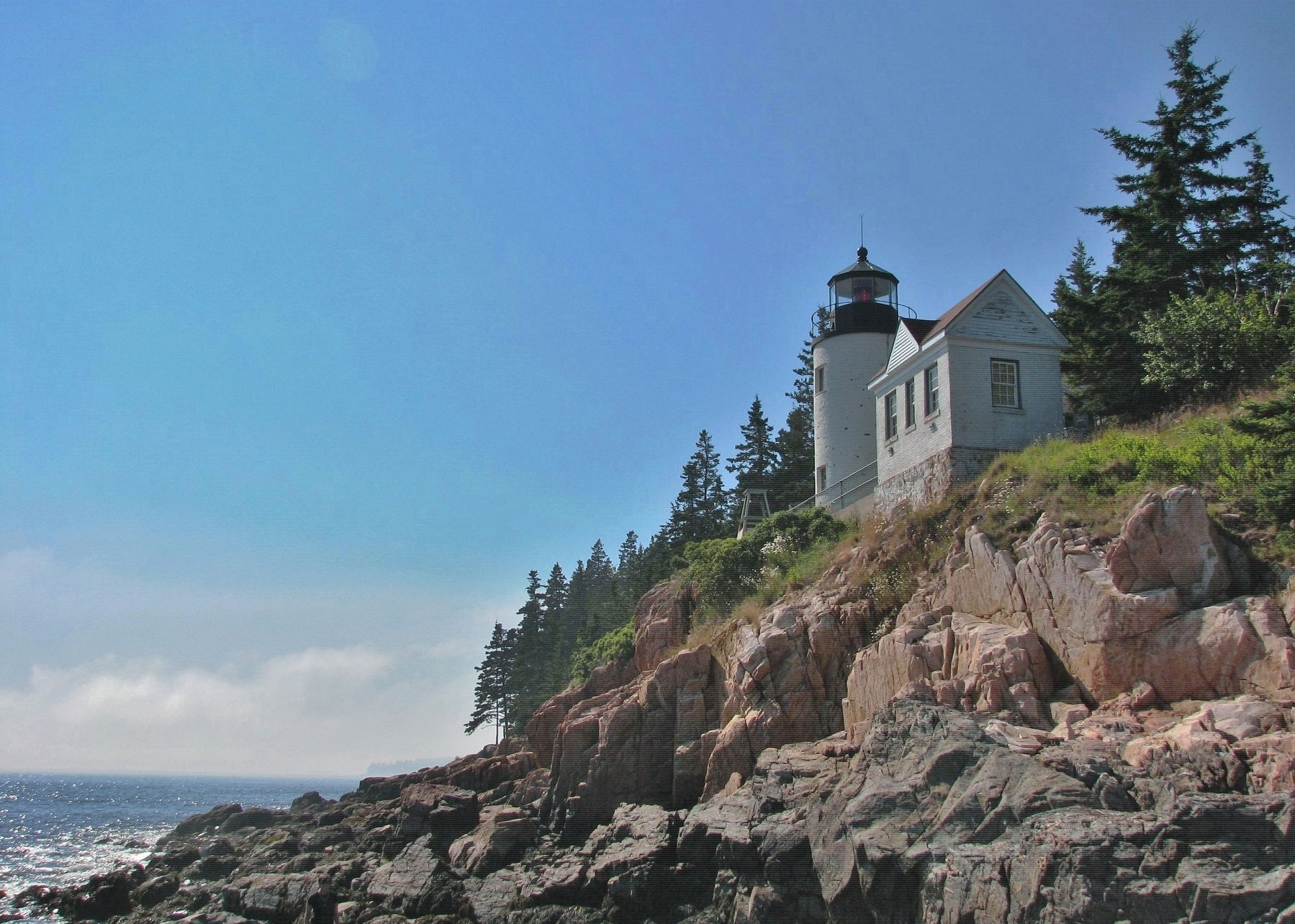 Bass Harbor Head Light Station (<i><b>view from shore below</i></b>) image. Click for full size.