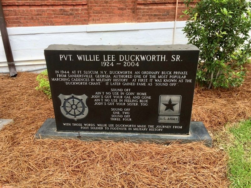 Pvt. Willie Lee Duckworth Sr. Monument image. Click for full size.