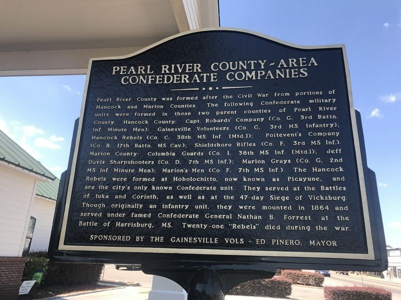 Pearl River County - Area Confederate Companies Marker image. Click for full size.