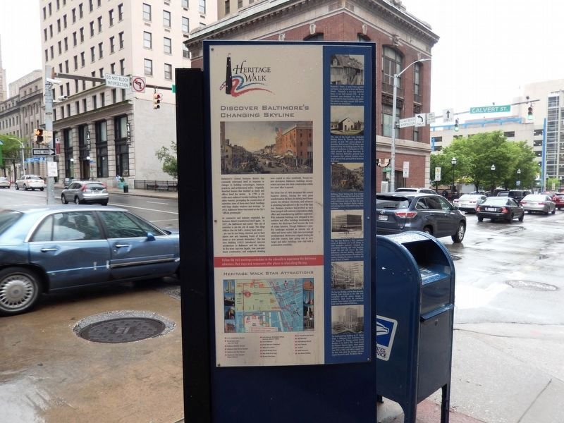 Discover Baltimore's Changing Skyline Marker-Front side image. Click for full size.