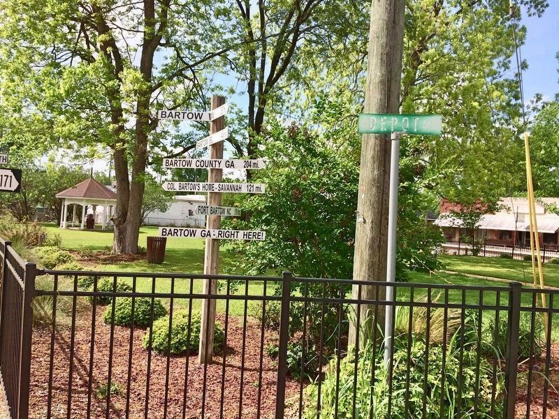 Nearby whimsical direction sign pole of other 'Bartow' locations named after Francis Bartow. image. Click for full size.