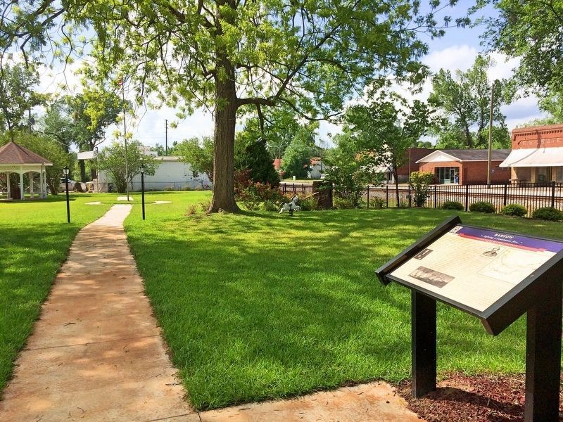 Heritage Square park with marker and artesian well gazebo in background. image. Click for full size.