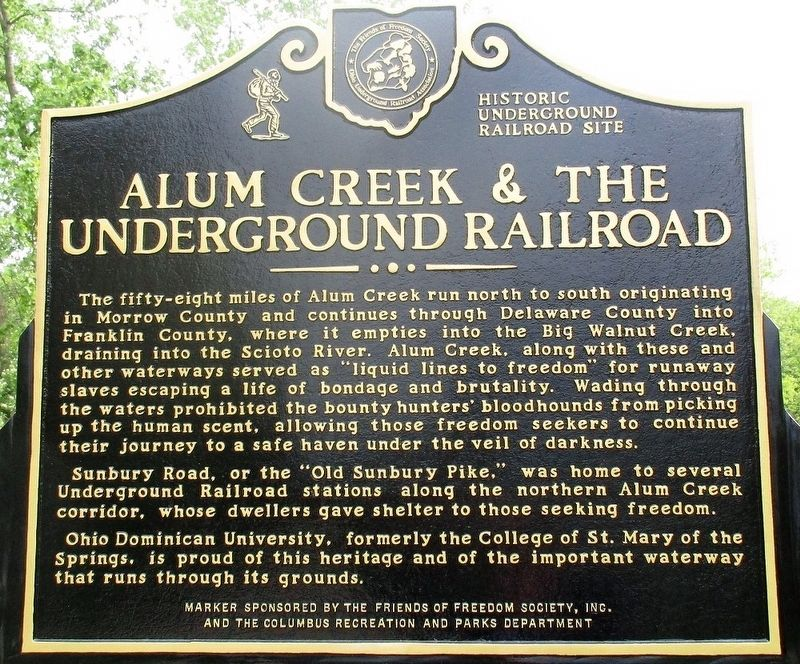 Alum Creek &The Underground Railroad Marker image. Click for full size.