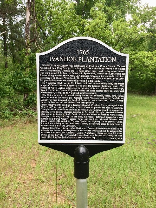 Another marker nearby about the Ivanhoe Plantation. image. Click for full size.