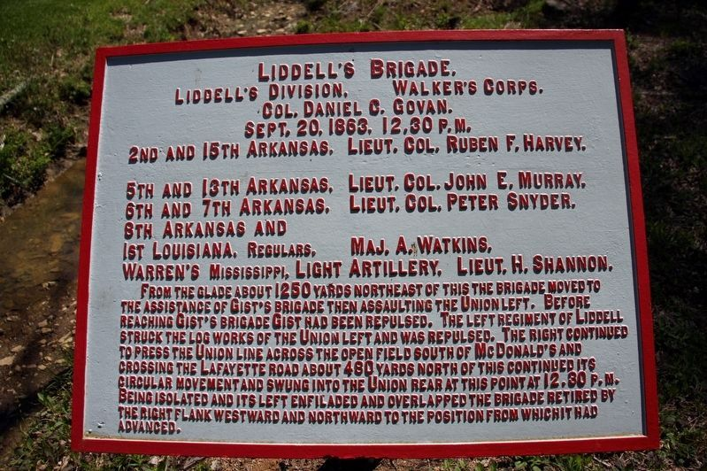 Liddell's Brigade Marker image. Click for full size.