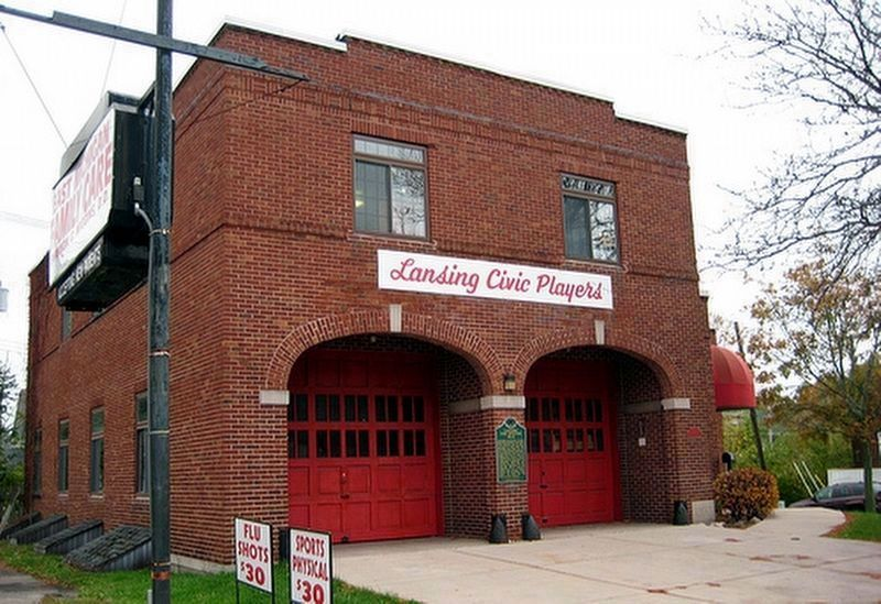 Lansing Fire Station No. 8 and Marker image. Click for full size.