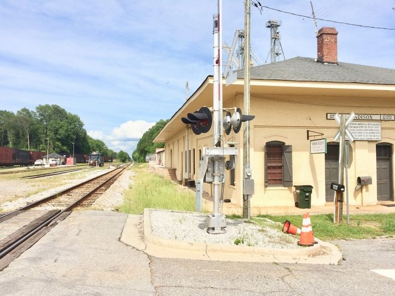 Madison Station along railroad tracks. image. Click for full size.